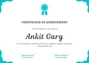 Language course certificate