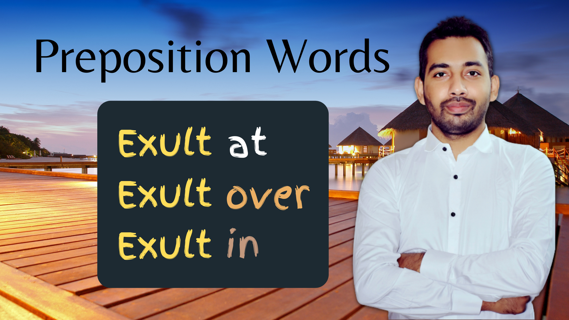Preposition words with exult